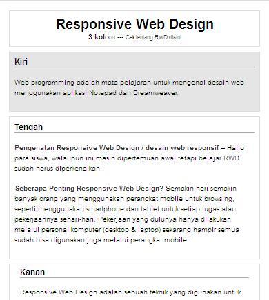 Website dengan 1 kolom