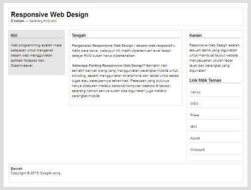 Website dengan 3 kolom
